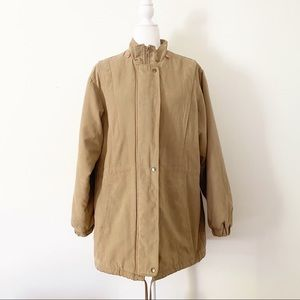 Marvin Richards Tan Quilted Down Zippered Jacket